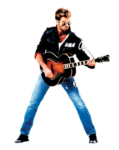 George Michael in Jeans mit Gitarre
