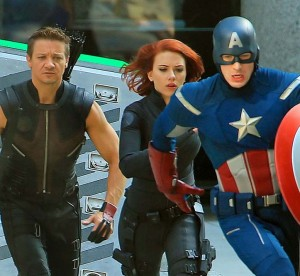 Jeremy Renner, Scarlett Johansson,and Chris Evans film &quot;The Avengers&quot; at Grand Central Terminal in NYC - photo: Splash