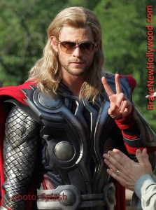 "Chris Hemsworth, as THOR in ""The Avengers,"" shooting a big scene in Central Park, NY - photo: Splash"