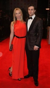 Aaron Johnson with fiance and filmmaker Sam Taylor-Wood at Bafta awards