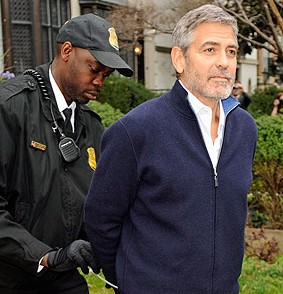 George Clooney arrested during a protest outside Sudanese embassy in Washington DC (March 16, 2012)