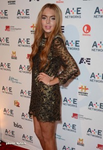 Lindsay Lohan and the A&E Upfront at Lincoln Center, NYC (photo: Splash)