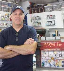 Randy Hage in front of the Mars Bar replica of the original store