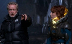 Director Ridley Scott with Noomi Rapace on 'Prometheus'