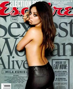 Hot celebrity, actress Mila Kunis is sexy cool on the cover of Esquire Magazine