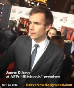 James D'arcy talks to reporters on the red carpet at AFI 2012