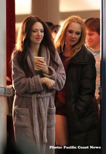 "Seyfried, with Juno Temple, on the L.A. set of ""Lovelace."""