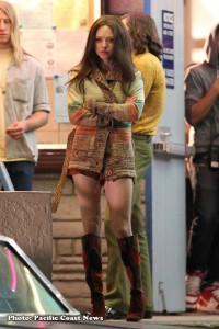 "Amanda Seyfried, on her Los Angeles set of ""Lovelace."" - photo: Pacific Coast News"
