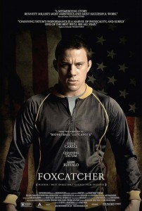 Actor Channing Tatum as Olympic wrestler Mark Schultz on the movie poster of FOXCATCHER (2014)