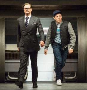 "Colin Firth & Taron Egerton in a still from 20th Century Fox action-comedy ""Kingsman: The Secret Service"""