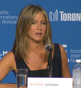 actress Jennifer Aniston answering questions during press conference for her latest film Cake, in Toronto