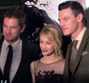 L-R: Director Gary Shore and stars of DRACULA UNTOLD Sarah Gadon and Luke Evans  during NY screening of the film.