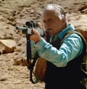 Michael Douglas hunts down a young desert guide in the new thriller Beyond The Reach (2015)