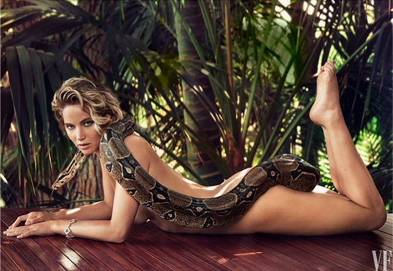 Jennifer Lawrence, naked with a deadly python, shot for Vanity Fair, by photographer Patrick Demarchelier