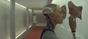 Swedish actress and dancer Alicia Vikander (A Royal Affair) pulls a young techie into an AI web, in Ex Machina (2015)  - A24 Films