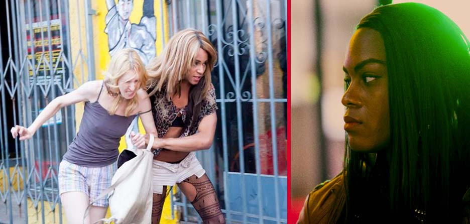 Sin-Dee will find you. Actress Kitana Kiki Rodriguez (left) and Mya Taylor in 'Tangerine' movie.