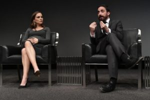 "WASHINGTON, DC - DECEMBER 1: (L-R) Natalie Portman and Pablo Larrain participate in a panel discussion after the premiere of Fox Searchlight Pictures ""Jackie"" at the Newseum on December 1, 2016 in Washington, DC. (Photo by Larry French/Fox/PictureGroup)"