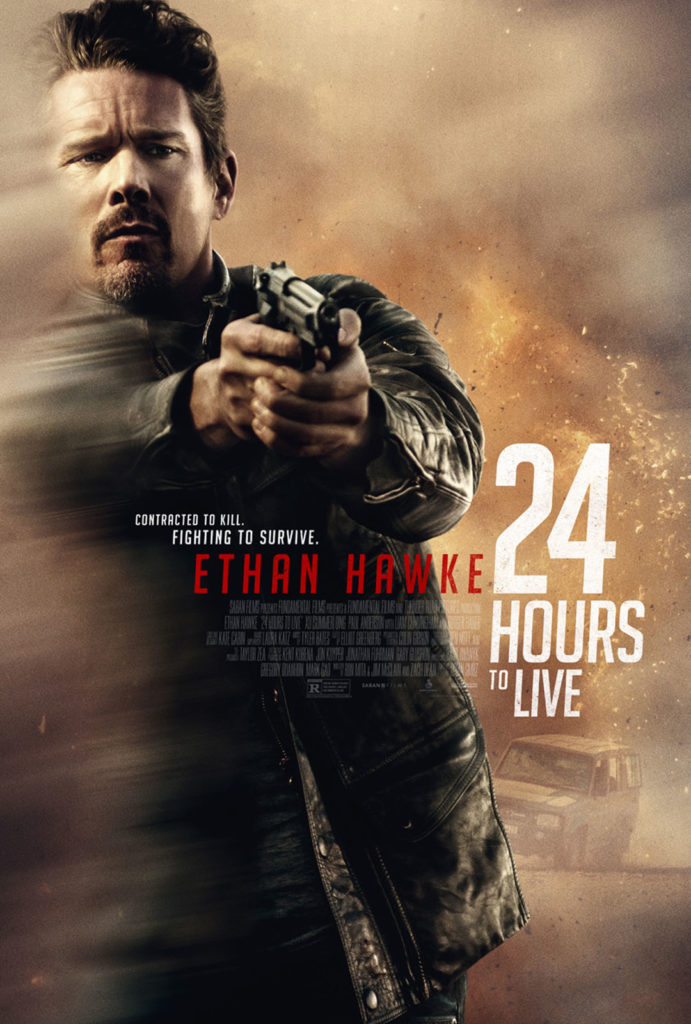 Ethan Hawke is a man of action in Brian Smrz' 24 HOURS TO LIVE (2017) action, thriiller - Saban Films