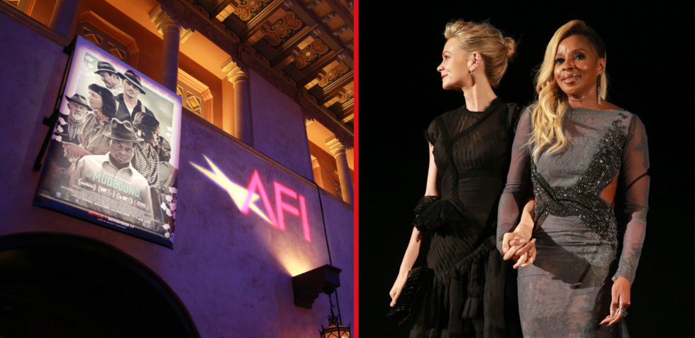 Carey Mulligan and Mary J. Blige hold hands during the AFI FILM FEST presentation of Mudbound
