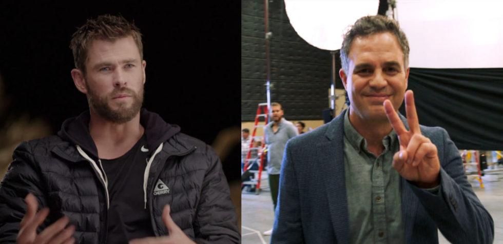 Chris Hemsworth and Mark Ruffalo were among Marvel Studios' cast of superheroes in a secret location in Atlanta, GA