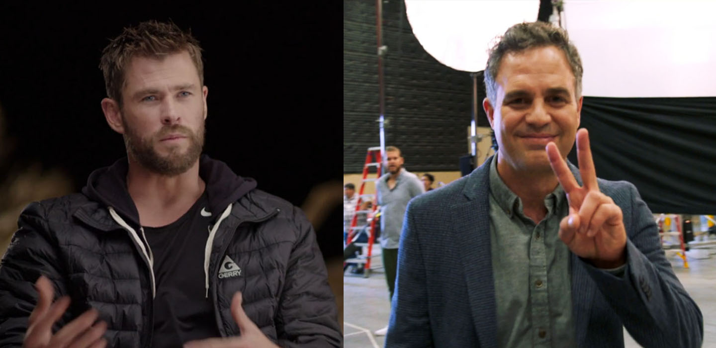 Chris Hemsworth and Mark Ruffalo were among Marvel Studios' cast of superheroes in a secret location in Atlanta, GA