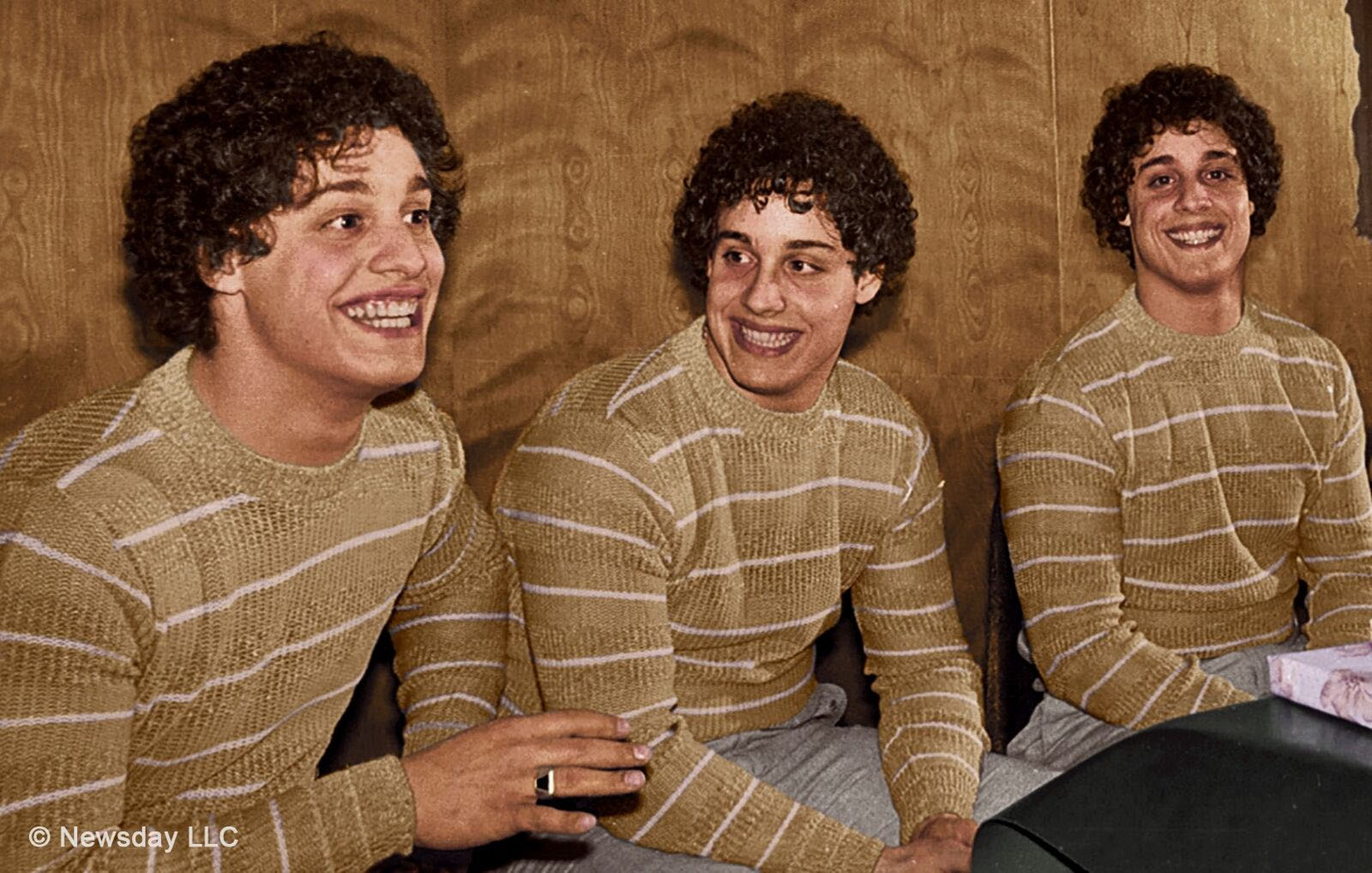 "Triplets Bobby, Eddy and David reunite after 19 years., in the unbelievable story told in ""Three Identical Strangers."" - CNN Films, Neon"
