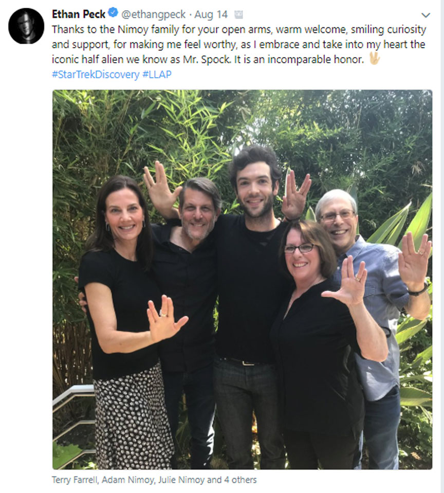 Actor, Ethan Peck has big shoes to fill, playing Mr. Spock the legendary vulcan on Star Trek TV series, originated by actor Leonard Nimoy.