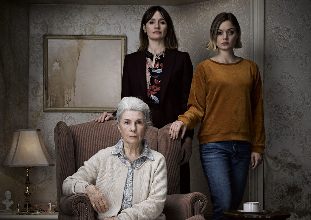 three actresses of RELIC horror movie, L to R; Emily Mortimer, Bella Heathcote, and seated, Robyn Nevine