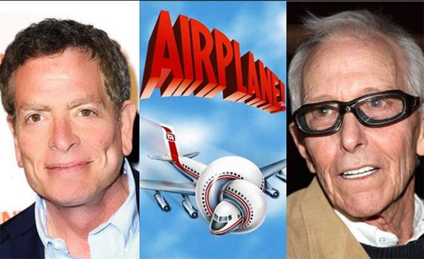 L-R, Director David Zucker, the movie poster of 1980 comedy film, AIRPLANE, director Jim Abrahams