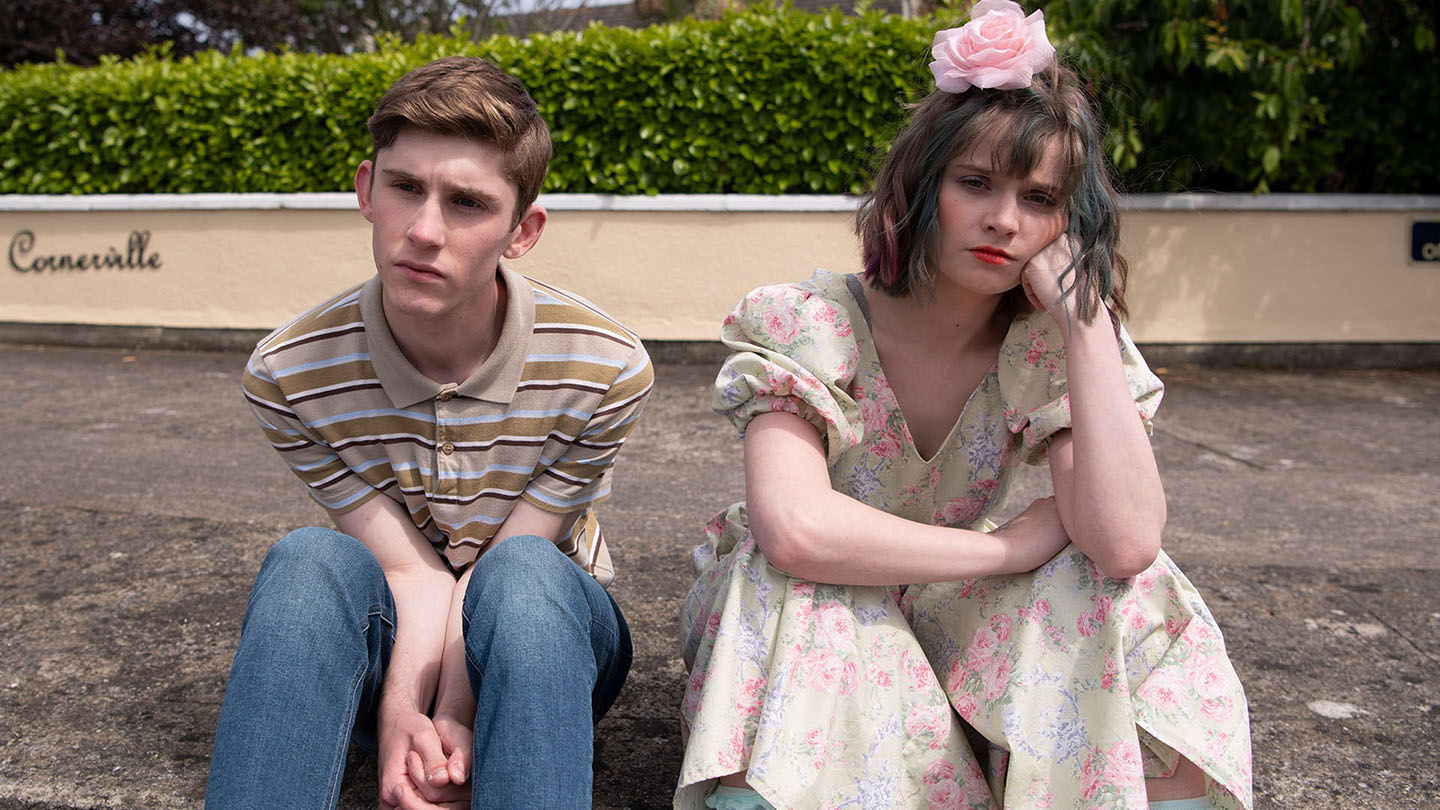 Publicity photo from DATING AMBER (2020) film: actors, Fionn O'Shea and Lola Petticrew