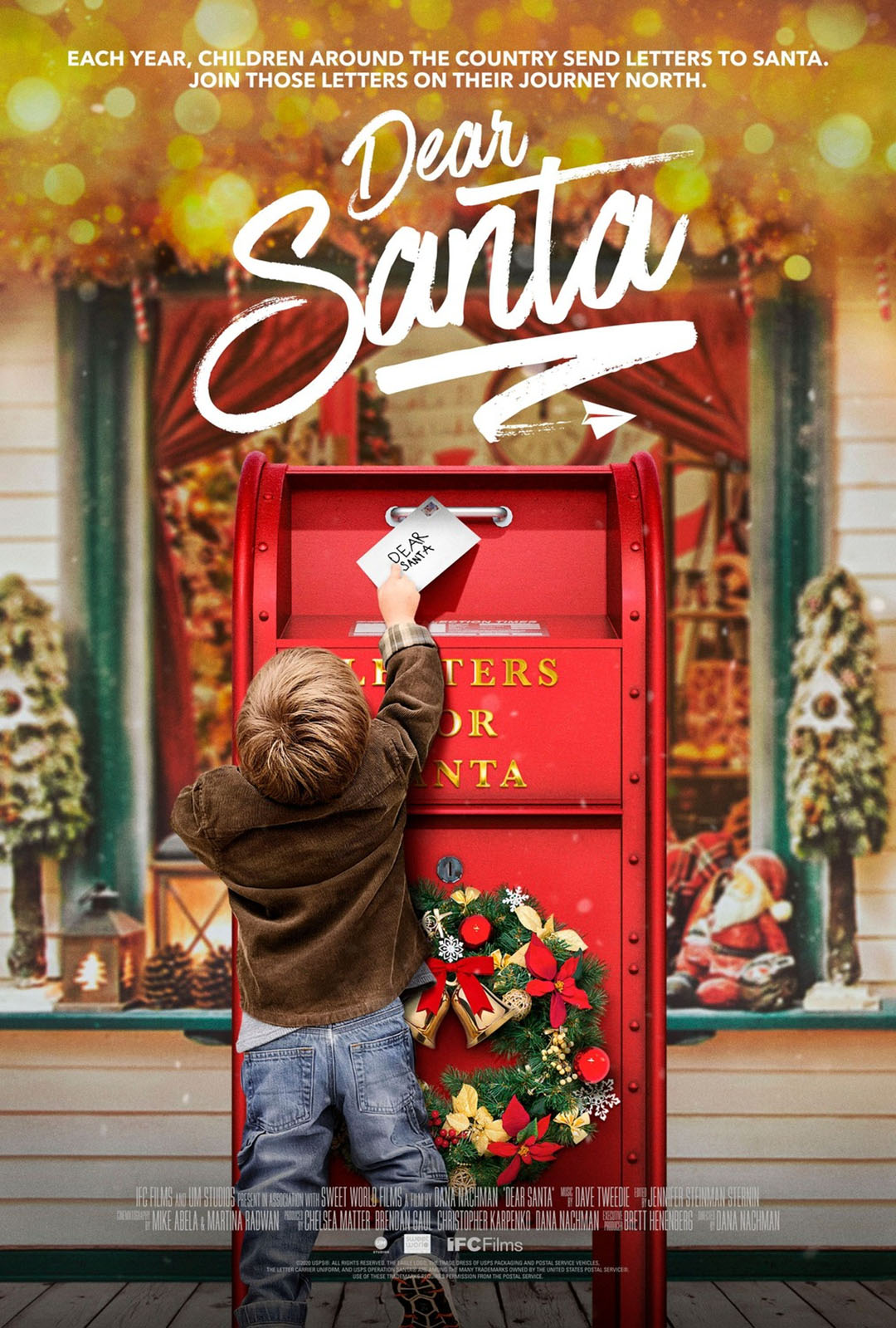 In this film poster for DEAR SANTA documentary, a young child reaches up to mail a letter to Santa.