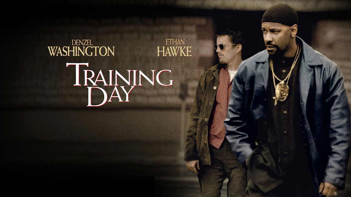 Ethan Hawke and Denzel Washington featured on the film poster of TRAINING DAY (2001)