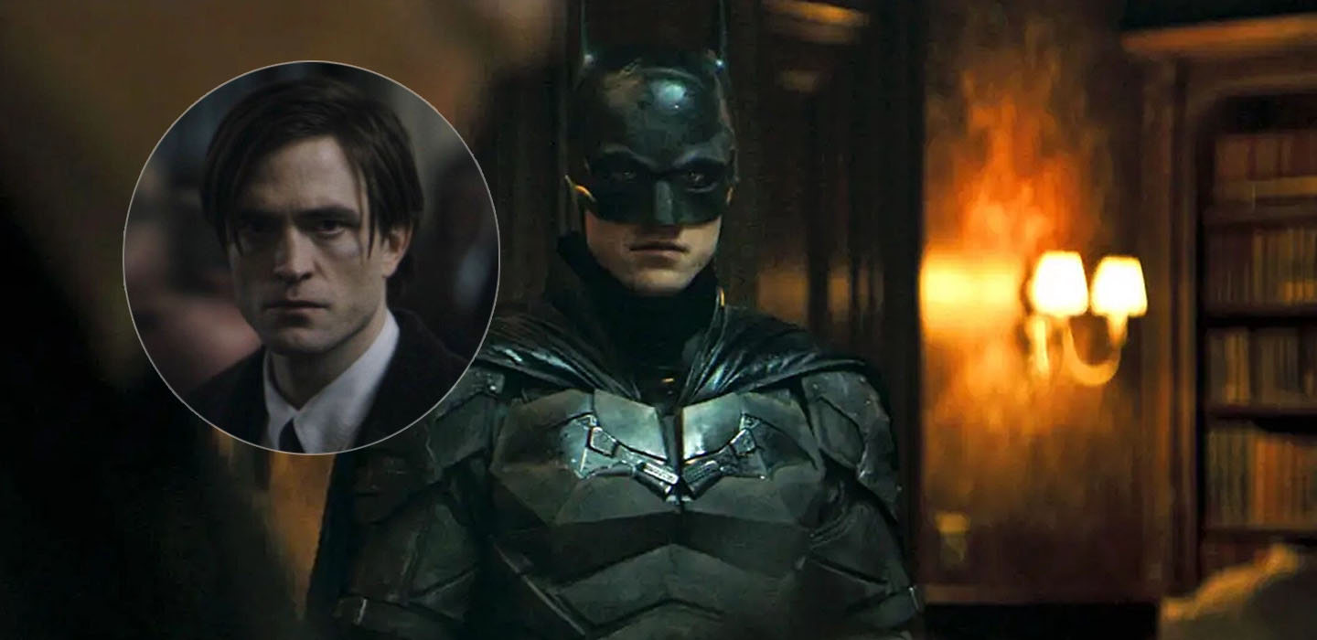 The Batman stars Robert Pattinson seen here in civilian cl;othing, suit and tie and in the Batman costume on the set of the film.